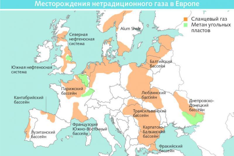 сланцы и метан с угля в Европе